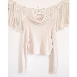 FREE PEOPLE Cream Knit Turtleneck Cropped Sweater